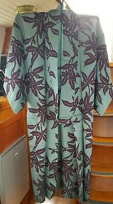 Fab Grey With Purple Bold Flower Pattern Vintage Japanese Full Length Kimono