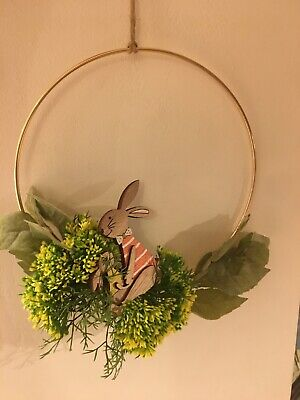 Easter wreath, handmade, gold wire, spring faux flowers, wooden bunny.