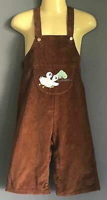 Vintage 1960's/70's Boys Brown Corduroy Overalls w Duck Motif at Chest Size 1