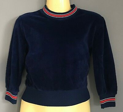 1970's Navy Blue Velour VICENZA Red & White Rib Trim Long Sleeve Jumper Size 2