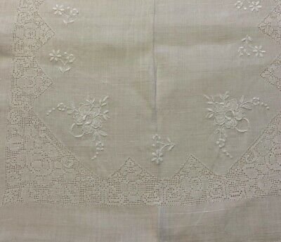 "Vintage Pierced WHITEWORK Hand Embroidered TABLECLOTH 82""x58"" Lovely"