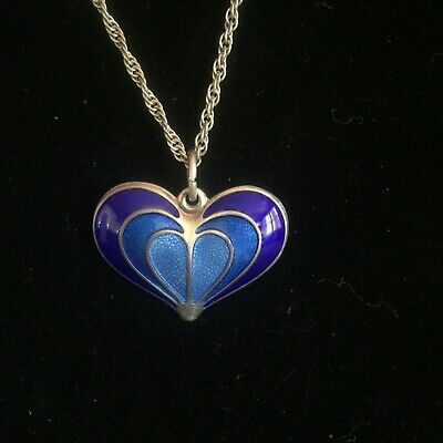 Lovely DAVID ANDERSEN Norway Sterling Silver BLUE ENAMEL HEART Pendant w/ Chain