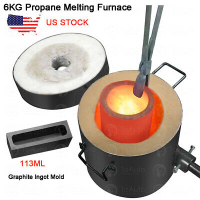 6KG Gas Melting Furnace Propane Forge Copper Gold Silver Jewelry Casting Tool US