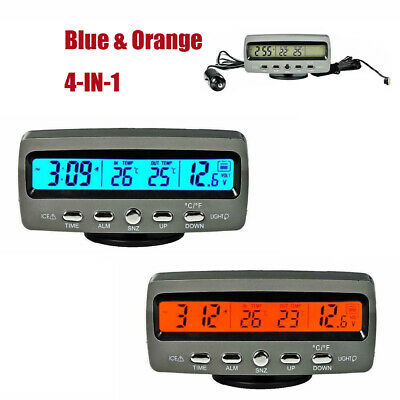 For Car Digital LED Voltmeter Clock Interior/Exterior Thermometer 12V Blue