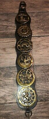 Vintage Royalty Horse Harness Brass Medallion Leather Bridle Ornament Lot Of 6
