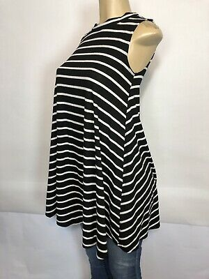 Snap Striped A Line Tunic Dress Womens Size S Casual Pullover Stretch Ribbed Top