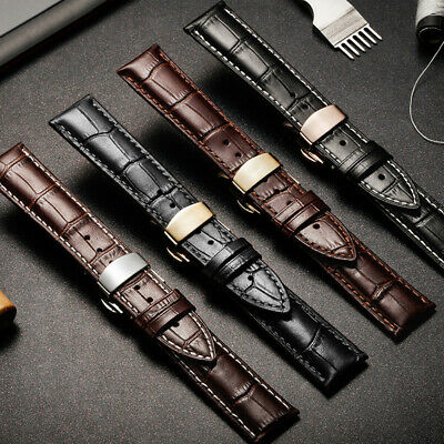 Luxury Genuine Leather Watch Band Strap Butterfly Clasp Mens Ladies 14mm-22mm UK