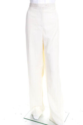 Carolina Herrera Womens High Rise Wide Pleated Dress Pants White Wool Size 14