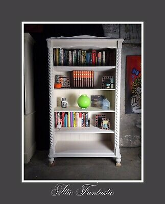 LARGE SOLID PINE WOODEN BOOKCASE PAINTED in ANTIQUE WHITE - VERY SOLID PIECE VGC