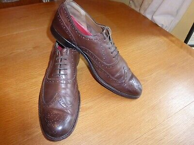 Grenson 'Oxford' Brogue Shoes Brown Tan Leather Size Uk 9F Fit Vintage In Vgc!!
