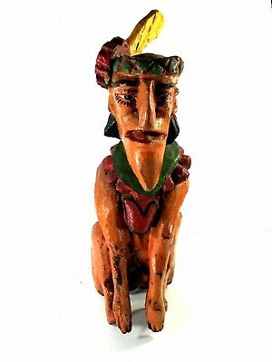 One Of A Kind Seminole Warrior Carved Out Of Cyprus Wood Early 1900's