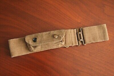WW2 Military Belt Olive Green Webbing Material With Press Stud Pouch