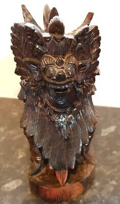 Unusual Hand Carved Wooden Tibetan Foo Dog