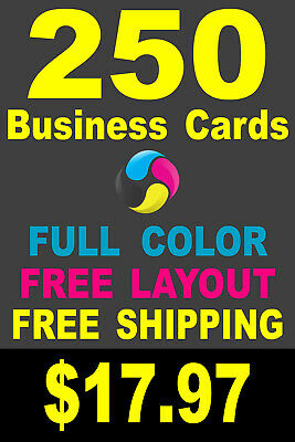 250 Full Color Gloss Custom Business Cards - FREE Shipping - Printed 1 Side