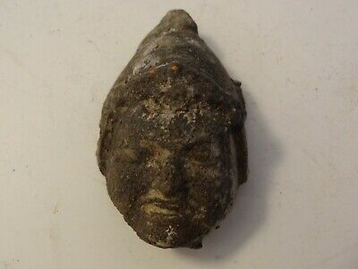 ANTIQUE MONGOLIAN  BUDDHIST HAND MADE CLAY head FRAGMENT