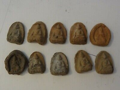 Antique Mongolian Tibetan Buddhist Miniature Clay Tsa Tsa Lots 10 Pc