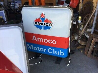 Amoco Lighted Single Sided Motor Club Sign Sinclair Mobil Standard Oil Gas