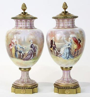 Superb Pair of Antique Signed Sevres Covered Urns.