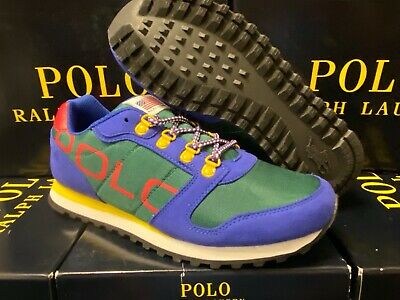 Polo Ralph Lauren Oryion-II Sneakers ROYAL/GREEN/RED Big Kids GS ALL SIZES NEW