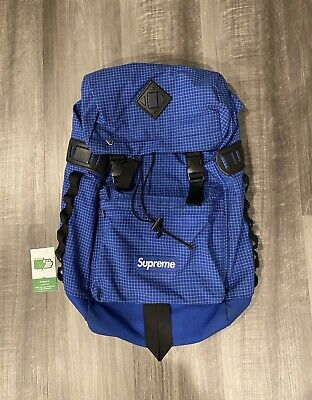 100% Authentic Rare Supreme FW09 Blue Grid Cordura Ripstop Backpack