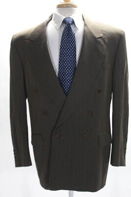 Canali Mens Long Sleeve Double Breasted Pleated Blazer Green Wool Size 54R