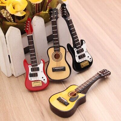 Wood Dollhouse Miniature Guitar Bass Acoustic Accessories Instrument Part Decor