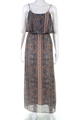 Red Saks Fifth Avenue Womens Fold Over Multiprint Maxi Dress Tan Blue Size S