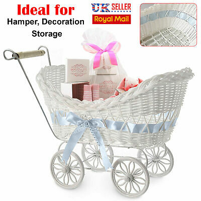Large Baby Pram Hamper Wicker Basket Baby Shower Party Gifts Boys Girls New Born