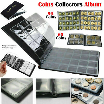 60-96 Coin Collection Album Coins Penny Money Storage Case Holder Folder Book UK