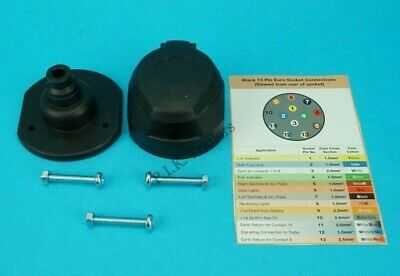 PREMIUM Grade 13 Pin Towing Socket & Rear Gasket Seal - Jaeger Made in Germany