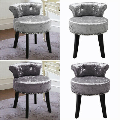 Upholstered Bedroom Piano Seat Dressing Table Stool Chair with Crushed Velvet UK