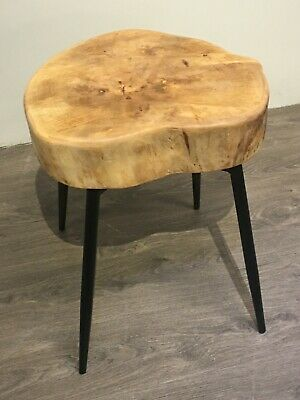 Chunky Rustic Solid Beech Stool with Retro Black Metal Legs Side End Lamp Table