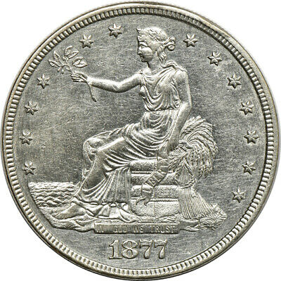 1877 Trade Dollar AU Cleaned, T$1 C00049314