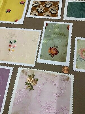 8 Antique French Silk Jacquard Sample Swatches - Classic Floral