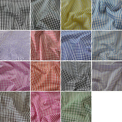"CERISE PINK 1//8/"" Gingham Check Poly Cotton Fabric 115cm"