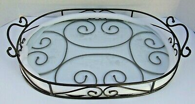 PRINCESS HOUSE Meridian 2 pc Metal and Crystal Serving Tray ~ 5339 New/Open box