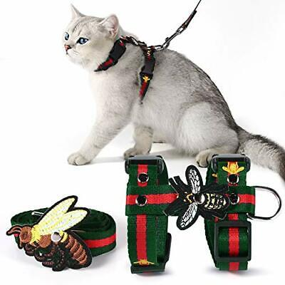 Cat Harness with Leash Set Adjustable Embroidered Bee H Style Harness