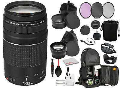 Canon EF 75-300mm f/4-5.6 III Lens (6473A003) with Professional Bundle Package