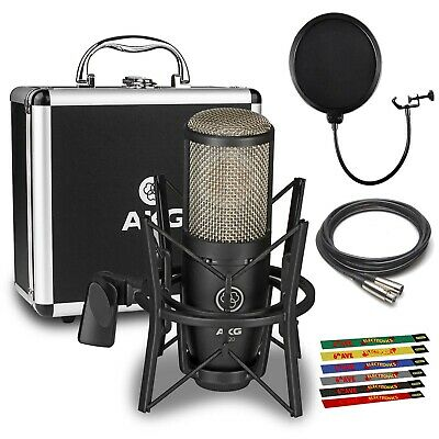 AKG P220 Large-diaphragm Condenser Microphone with Pop Filter, 10 Ft. XLR