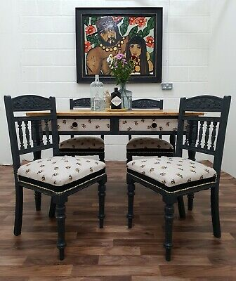 Farrow & Ball Farmhouse Country Victorian Scrub Table And 4 French Chairs Gothic