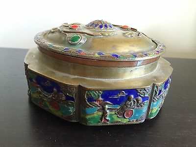 Fine 19th / 20th C Chinese Brass Covered Jar Enameled Blue Art Coral Cabochon NR