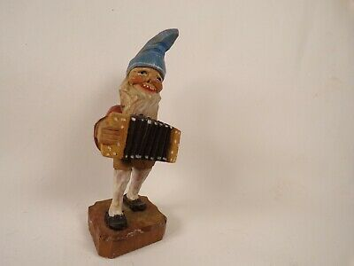Vintage German Folk Art Hand Carved Painted Wood Gnome Troll