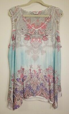 Avenue Womens Plus Size Sheer Top/Tunic w attached Cami Size 18/20 Multi Color