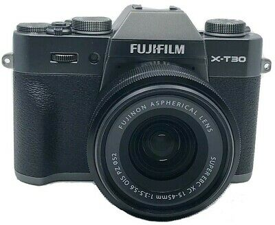 FUJIFILM X-T30 Charcoal Silver with XC 15-45mm OIS PZ Lens (Black) NEW, OPEN BOX
