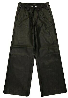 Banana Republic Faux Leather Pants Wide Leg High Waisted Drawsting Womens Size 6