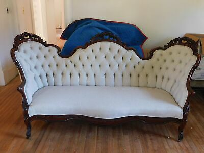 "Victorian Carved Sofa Mahogany Off-White Linen Type Fabric 40""H 83 3/4""W"