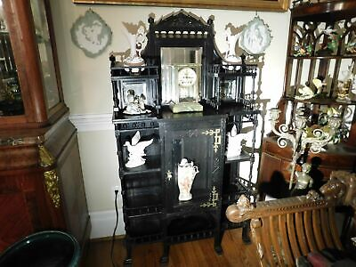 """Victorian Ebonized Etagere With Beveled Mirrors 62""""h x 35 1/8""""w x 11.5""""d"""