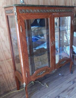 """French Display Cabinet With Shelves Green Marble Top 63""""H x 36 3/4""""W x 19"""" D"""