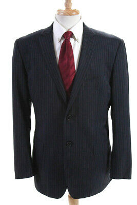 Z Zegna Mens Two Button Notched Lapel Blazer Navy Blue Wool Size IT 52