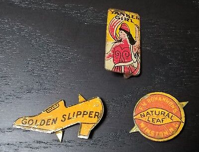 Lot of 3 Antique Tin Tobacco Tags - Yankee Girl, Golden Slipper, Natural Leaf